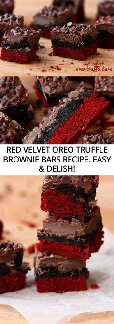 The original recipe for Red Velvet Oreo Truffle Brownie Bars! Decadent red velvet brownies topped with a layer of Oreo truffle and more!