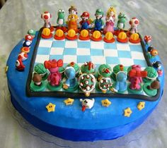 This Super Mario Bros. Chess Cake is a delicious looking dessert not only meant to be consumed but also to get a feel of chess and super mario games together. Mario Bros Kuchen, Mario Bros Cake, Bolo Do Mario, Bolo Super Mario, Fancy Cakes, Cute Cakes, Super Mario Bros, Beautiful Cakes, Amazing Cakes