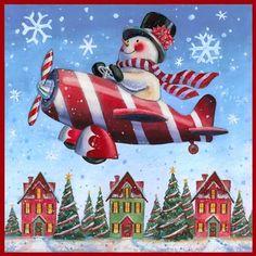Snowman Flight Home for Christmas -Leesa Whitten Christmas Scenes, Christmas Pictures, Christmas Snowman, Christmas Crafts, Christmas Decorations, Christmas Ornaments, Christmas Costumes, Xmas, Christmas Graphics