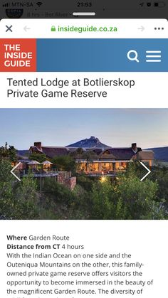 Private Games, Game Reserve, Romantic Getaways, Tent, Ocean, River, Garden, Store, Garten