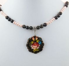 Hand Painted Rose and Forget-Me-Not by RivendellRockJewelry