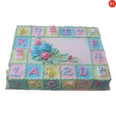 Change to boy colors and remove flowers and write its a boy Baby Shower Sheet Cakes, Baby Shower Cakes Neutral, Baby Shower Cupcakes, Baby Shower Games, Pastel Rectangular, Baby Chower, Sheet Cake Designs, Baby Blocks, Girl Cakes