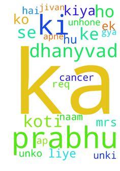 Thanks -  Haleluyaa paise the lord, me prabhu ka dil se koti koti dhanyvad deti hu ki unhone hmare jivan me ek bahut bada chamtkar ko dikhaya, nov. me mene ek bhaiya ki mrs. ke liye prayer req. bheja tha ki unko blood cancer ho gya hai,, ap logo ne mere req. ko accept kiya or unki mrs ke liye prabhu se prathna kiya vo mera jinda khuda usne apne jivit hone ka sabut diya or hmari prathna ko grahan kiya prabhu ka dhanyvad ho ki unki mrs. ka blood cancer prabhu ke naam se thik ho gya parabhu ka…