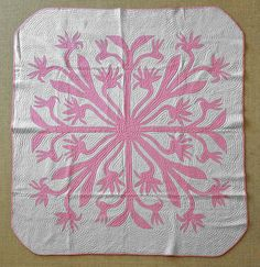 RARE 1950's Hand Stitched Hawaiian Quilt Bird of Paradise Pattern No Reserve | eBay - beautiful!