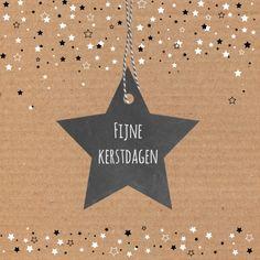 Hippe kerstkaart met kartonprint en veel sterren, verkrijgbaar bij #kaartje2go voor € 1,89