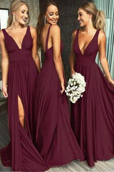 Burgundy V-Neck Long Bridesmaid Dresses Custom Made Fashion Formal Dress Wedding Party Dresses SBD001