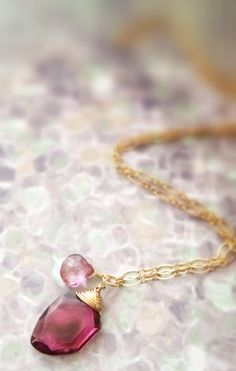 Faceted Tourmaline Slab And Pink Mystic Quartz Wire Wrapped 14k Gold Fill Necklace by Belle Bijou Atelier