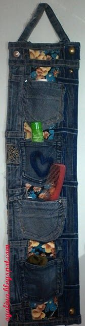 from dublirina ... denim pocket hanging organizer