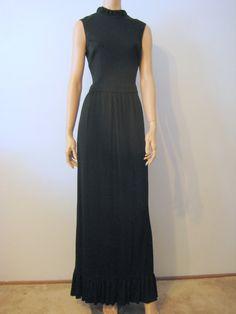 For Vintage Maxi Dress Black by VintageRenude on Etsy Vintage Clothing, Vintage Outfits, Ruffle Collar, Knit Dress, Dress Black, Hemline, Retro Vintage, High Neck Dress, Formal Dresses
