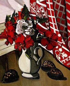 Margaret Preston, Double Hibiscus, 1929 (oil on canvas mounted on composition board h x w cm). Her artwork is very angular with loads of sharp, black contrast. Margaret Rose, Margaret Preston, Australian Painters, Australian Artists, National Art, Still Life Art, 2d Art, Aboriginal Art, Flower Art