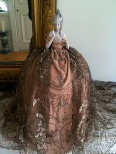 Half Doll With Spectacular Gold  Lace Dress