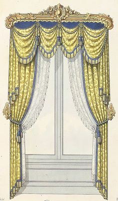 Drapes and swaging can hide a lot of construction flaws and/or the use of inferior materials. Victorian Curtains, Victorian Windows, Victorian Bedroom, Victorian Interiors, Victorian Homes, Drapes And Blinds, Window Drapes, Window Coverings, Drapes Curtains