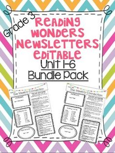 Wonders Reading UNIT 1-6 Bundle Pack Newsletters ENTIRE YEAR