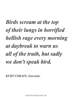 kurt cobain, journals. I refuse to read the journals but I love this passage.