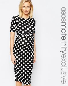 Image 1 ofASOS Maternity Bodycon Dress In Spot With Cross Front
