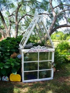 5e1738d8d39 Miniature greenhouse made from ReUsed windows and other miscellaneous  reclaimed materials Window Greenhouse