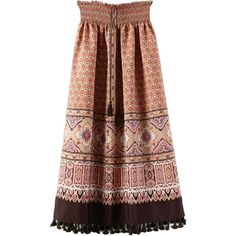 Multicolor Tribe Pattern Stretch Waist Tassel Detail Skirt ($27) ❤ liked on Polyvore featuring skirts, patterned skirt, tribal pattern skirt, elastic waistband skirt, print skirt and colorful skirts