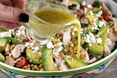 Spinach Salad with Chicken ~  spinach, cherry or pear tomatoes, corn (frozen, canned, or cut off the cob), cooked chicken, avocado, goat or feta cheese, pine nuts ~ Dressing ~ white wine vinegar, extra-virgin olive oil, Dijon mustard, salt, black pepper