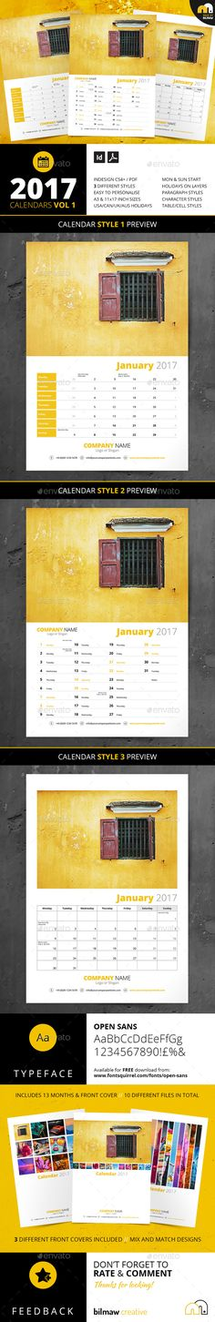 Calendars Vol 1 | Calendars Vol 2 | Customizable Template | Branding | Photography promotion | 2017 CALENDARS VOL 2 | 3 Styles // A3 & 11×17 inch (Tabloid) Versions