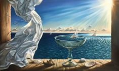 """Safe Harbour by Vladimir Kush Original Oil Painting, 28"""" x 46"""" Children often sail toy boats, anxiously following their progress, anticipating their fate in turbulent waters. Later, some of us discover the boundless, chaotic sea, full of surprises. The goblet with sailboat is a microcosm of life or, rather, of how we experience life and bear up under current circumstance. Hence, there is a saying... #VladimirKush #oilpainting #originalart #SantaFeNM  The Longworth Gallery"""