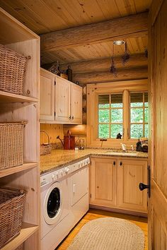 Love this Log Home Styled Laundry Room - windows, counters, shelves, cabinets, etc. by FoodLove