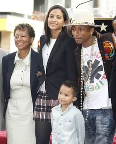 Pharrell Williams, wife Helen, son Rocket Man and Pharells mom.