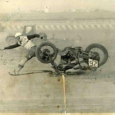 An Unfortunate Motorcycle Racing Incident Racing Motorcycles, Harley Davidson Motorcycles, Motorcycle Racers, Vintage Bikes, Vintage Motorcycles, Indian Motorcycles, Valentino Rossi, Cafe Racers, Flat Track Racing