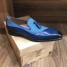 Italy Handmade Men's Leather/Canvas Loafers Casual Leather Shoes, Suede Leather Shoes, Leather Men, Kicks Shoes, Men's Shoes, Shoes Men, Dress Shoes, Mens Business Shoes, Gentleman Shoes