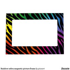 Rainbow zebra magnetic picture frame
