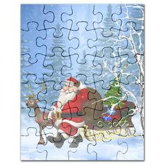 Gatterwe: Santa is coming Puzzle: Santa Claus and his Reindeer go through the forest. A cute christmas scene! Reindeer, Puzzles, Santa, Scene, Christmas, Decor, Yule, Decoration, Xmas