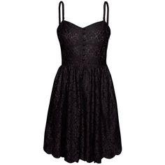Talula Debutante Dress ($85) ❤ liked on Polyvore featuring dresses, vestidos, black, short dresses, lace dress, garden party dresses, short lace cocktail dress, black cocktail dresses and lace mini dress