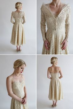 Long sleeved lace vintage wedding dress A Collection of Beautifully Unique Vintage Wedding  Dresses from Beloved Vintage Bridal