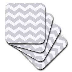 3dRose Light Grey and white zig zag Chevron pattern. Gray silver zigzags, Ceramic Tile Coasters, set of 4