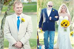 Grooms first look/ father daughter down the aisle