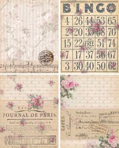 INSTANT DOWNLOAD DigiTAL DoWnLOAds ShaBBY ChIc FLoRaL baCKgroUnds ATC bAckGroUnDs FrENch EphEmeRa PrinNTaBLe PoLKa DoTs BinGO, No. 55. $4.25, via Etsy.