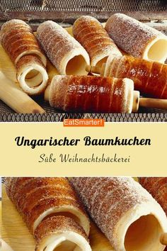 Weihnachtsbäckerei: Ungarischer Baumkuchen This delicious rolled pastry tastes sweet and tasty. You can also coat it with other toppings, for example coconut or almonds. But the Hungarian Baumkuchen tastes very good from classic with sugar-cinnamon! Sweet Recipes, Cake Recipes, Dessert Recipes, Cookies Decorados, Tree Cakes, Food Cakes, No Bake Desserts, Food And Drink, Tasty