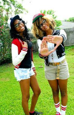 Besties Outfits on Point! Bff Goals, Best Friend Goals, Squad Goals, Black Girl Swag, Black Girls, Black Women, Delta Girl, Thing 1, Favim
