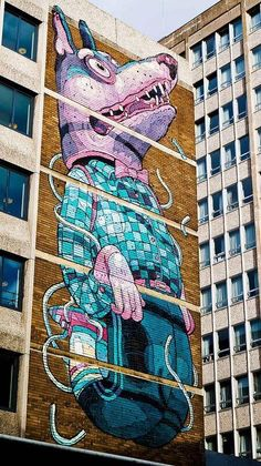 Large scale unique Street Art by #Aryz as part of the see no evil project in #Bristol