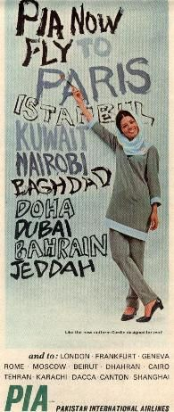 Now Paris to Shanghai (Pakistan International Airlines PIA ad 1960s)