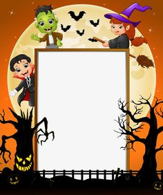 Halloween vector border PNG and Vector Halloween Frames, Halloween Door Decorations, Halloween Prints, Halloween Photos, Halloween Signs, Halloween Party Decor, Fall Halloween, Happy Halloween, Halloween Invitaciones