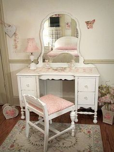 Love this !vintage pink shabby chic things | Vintage Shabby Chic Vanities - Forever Pink | Shabby Chic #shabbychicbathroomsdiy