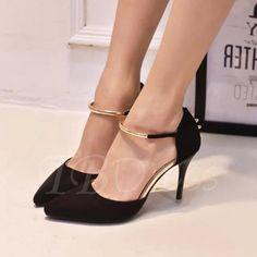 TBDress - TBDress Pointed Toe Sequins Stiletto Heel Suede Buckle Womens Pumps - AdoreWe.com