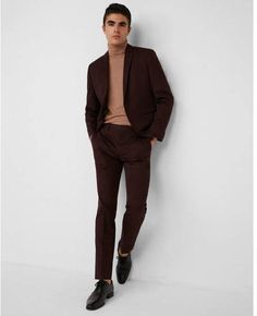 Express slim burgundy cotton sateen suit pant light weight #menswear #shopping affiliate
