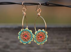 Dangling, Drop, Beadwork, Handmade, Hoop, Statement, Cocktail Earrings in Sunbathing colors: Gold, Yellow, Turquoise and Coral. $72.00, via Etsy.