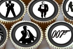 24 x Silhouette James Bond 007 Cupcake Toppers - Edible Premium Rice Wafer Paper  - 3283
