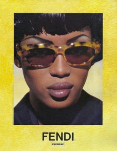 "specsenvogue: "" Naomi Campbell by Karl Lagerfeld for Fendi Eyewear 1992 "" Mode Collage, Fendi Eyewear, Fashion Eyewear, Mode Poster, Plakat Design, Photo Wall Collage, Retro Aesthetic, Mellow Yellow, Mode Inspiration"