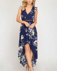 Short ruffle sleeve floral print hi-low maxi dress with lace trim and open back WOVEN DRESS *MODEL IS Short Beach Dresses, Hi Low Dresses, Cute Dresses, Girls Dresses, Summer Dresses, Dresses Dresses, Elegant Dresses, Summer Outfits, Maxi Dress With Sleeves