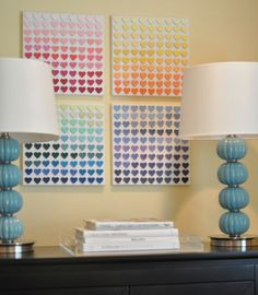 Paint Chip Canvas Art  And love the lamps.  PIN FR JADE WOOTEN  Just HOW MANY PAINT STRIPS FR THE HARDWARE STORE DO YOU HAVE LYING AROUND ....? Usually on great card stock.. and colors you are perhaps already using?