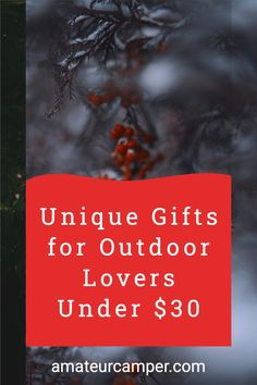 A unique list of gifts for the outdoor lover in your life. #outdoorgifts #camping #outdoorsy Gifts For Campers, Outdoor Gifts, Thoughtful Gifts, Unique Gifts, Lovers, Camping, Life, Campsite, Campers
