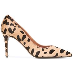 L\'Autre Chose Animal Print Court Shoes (12,260 INR) ❤ liked on Polyvore featuring shoes, pumps, black leather pumps, animal print shoes, genuine leather shoes, beige shoes and black pumps